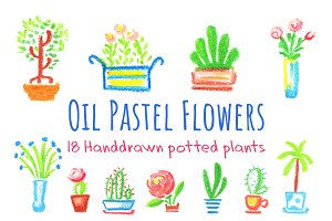 Cute Potted Flowers Pastel Clipart