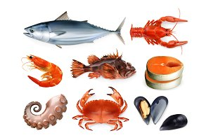 Sea food, 3d vector icon set