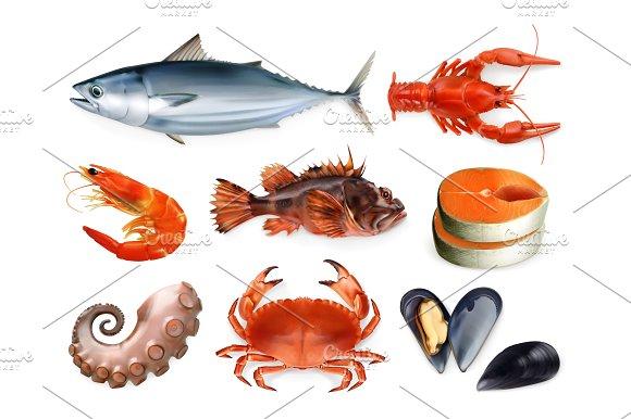 Sea Food 3D Vector Icon Set