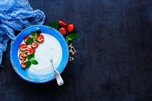 Yogurt and strawberry