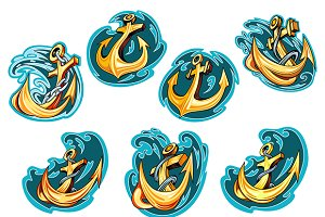 Anchor on blue wave design elements