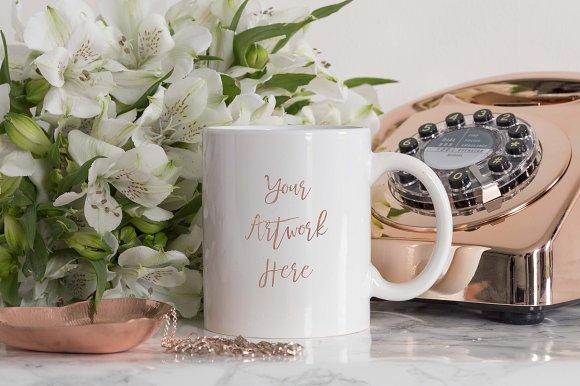 White Mug Mockup With Rose Gold
