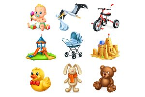 Kids and toys. 3d vector icons set