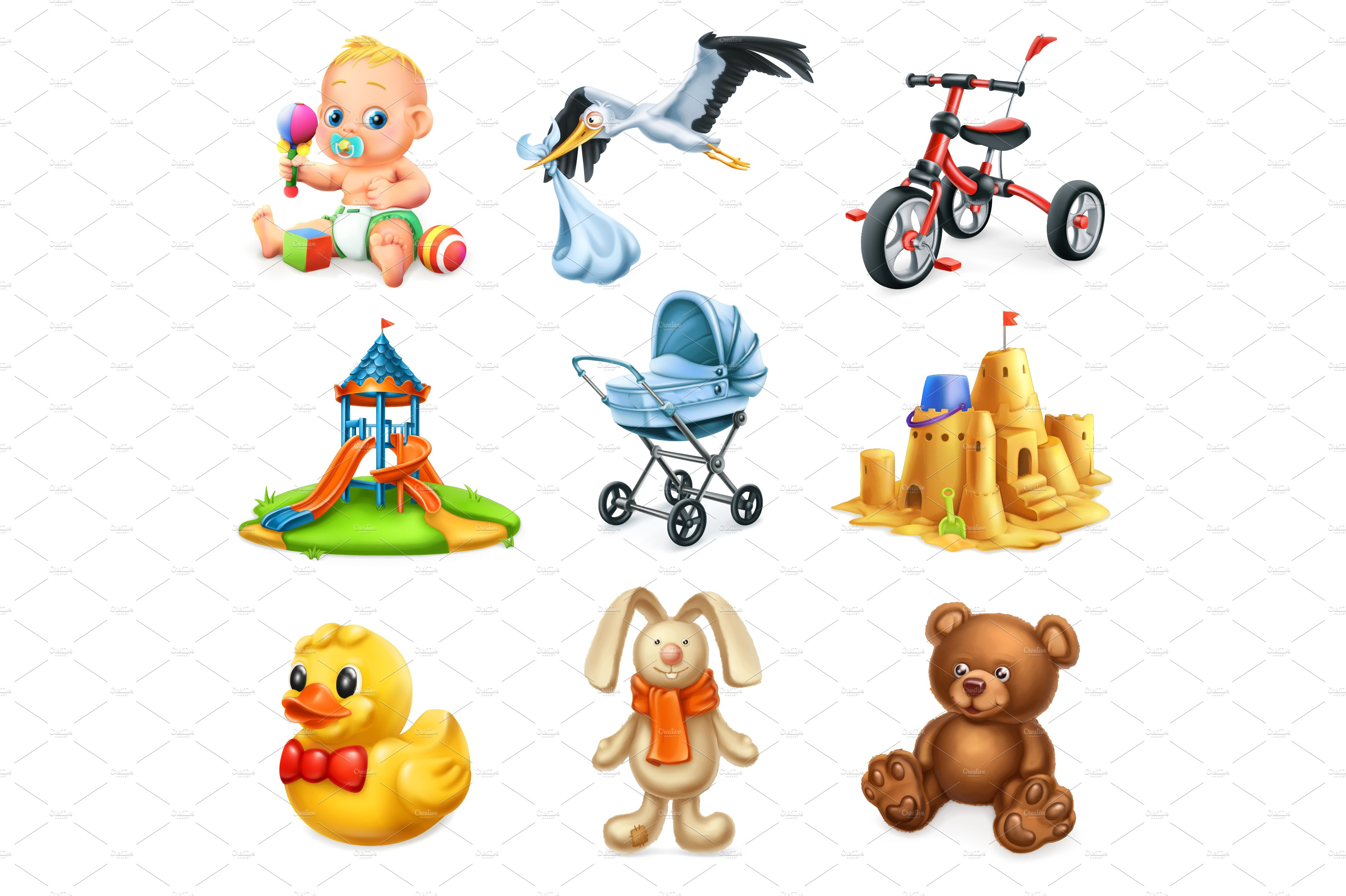 Kids and toys. 3d vector icons set ~ Illustrations ...