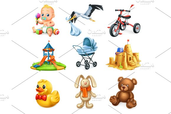 Kids And Toys 3D Vector Icons Set