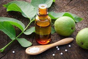 Walnut, tincture, homeopathy globule