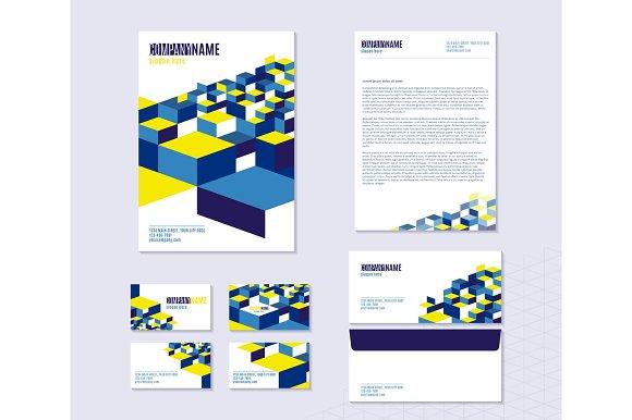 Vector Illustration Of Stationery With Sheet Folder Envelope Business Cards