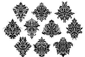 Black damask floral ornate flowers