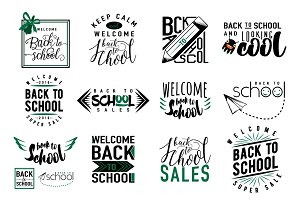 Vector Set of back to school, sale retro style elements.