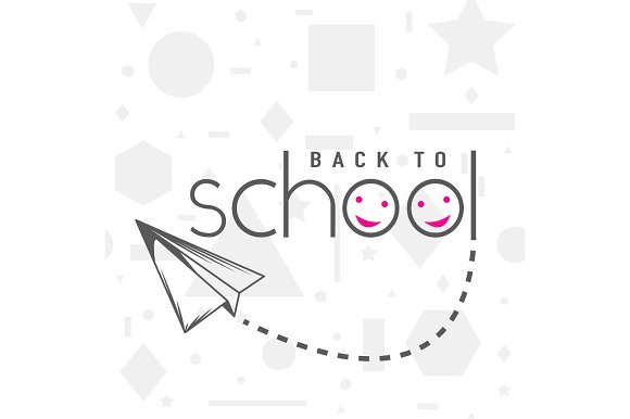 Vector Illustration Of Back To School Greeting Card With Typography Element And Flying Airplane On Seamless Geometric Background