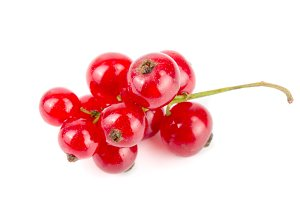 Red currant berries isolated on white background