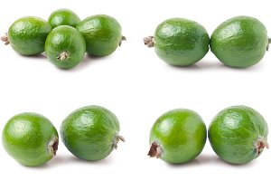 whole feijoa isolated on white background. Set or collection