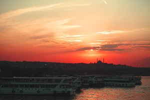 sunset of Istanbul