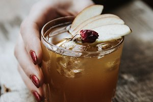 Warm Fall Cocktail on Wood