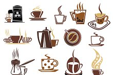 Brown coffee  cup and kettle icons