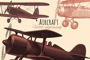 Set Aircraft. Vector engraving.