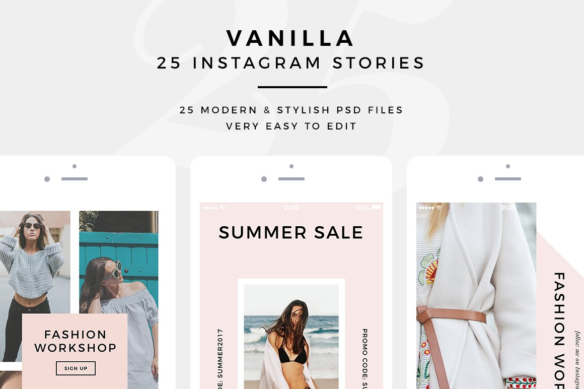 vanilla 25 psd instagram stories instagram templates creative market. Black Bedroom Furniture Sets. Home Design Ideas