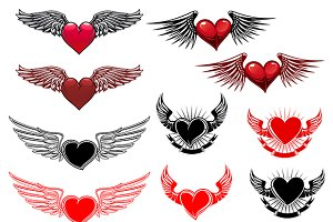 Red and blac heart tattoo with wings