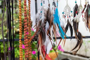 Variery of different woman accessories on a Bali handmade market. Bali, Indonesia.