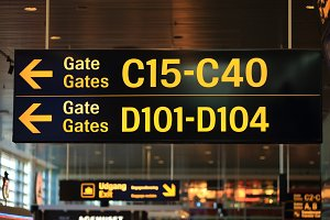 Gates numbers in airport