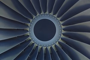 Turbine of airplane engine close-up