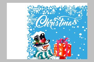 Christmas Snowman with gift