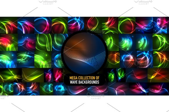 Mega Collection Of Glowing Waves Energy Concepts