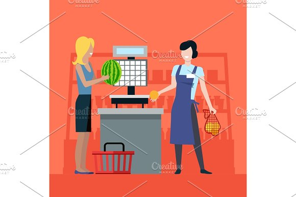 Shopping In Grocery Store Vector Illustration