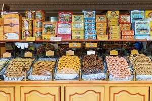 Sweets on display in candy shop