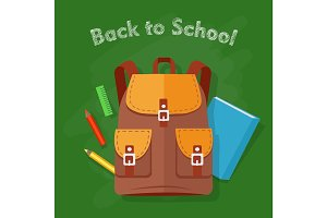 Back to School. Brown Backpack. Office Supplies