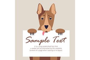 Doberman with Signboard Isolated Illustration