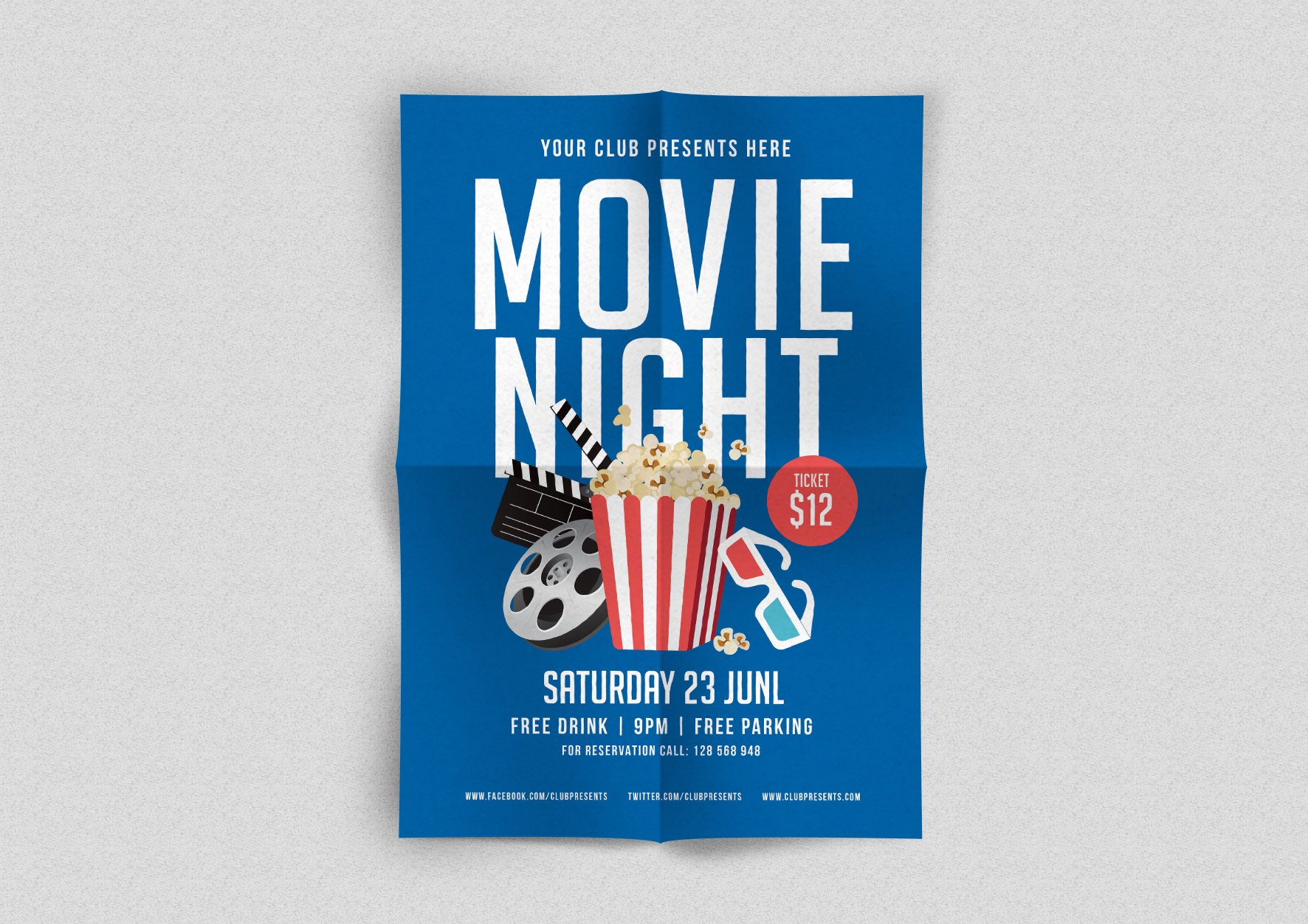 movie night flyer flyer templates creative market. Black Bedroom Furniture Sets. Home Design Ideas