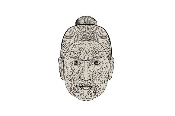 0430f3125 Maori Face with Moko facial Tattoo ~ Illustrations ~ Creative Market
