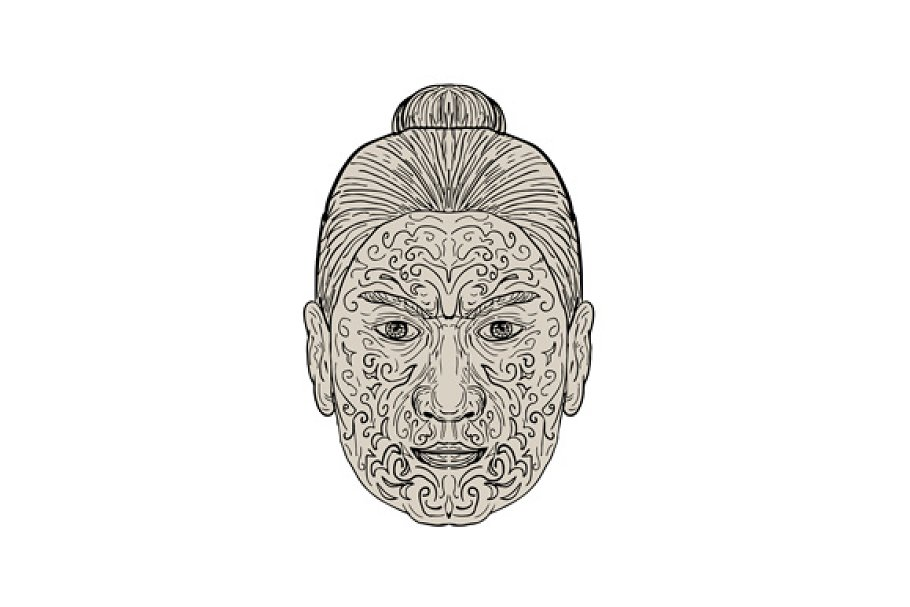 3c856b5d287f4 Maori Face with Moko facial Tattoo ~ Illustrations ~ Creative Market
