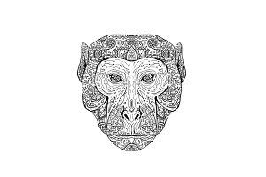 Rhesus Macaque Head Front Mandala