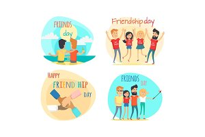 Celebrating Friendship Day Vector Concepts Set