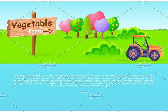 Vegetable Farm Pointer With Trees And Tractor