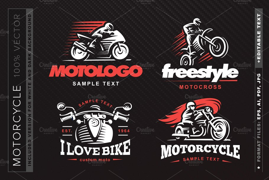 Motorcycle Logo Set Logo Templates Creative Market