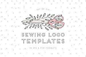 Hand Drawn Sewing Logos EPS PSD