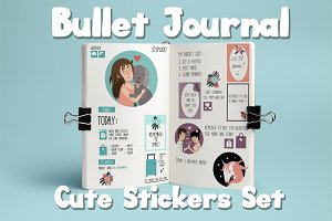 Bullet Journal Cute Stickers Set