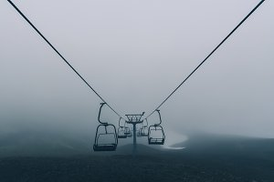 Abandoned Ski Lift in the Clouds