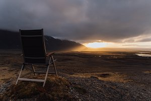Camping Chair in Nature at Sunset