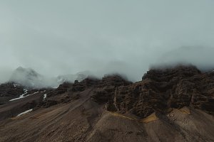 Dramatic Mountain Range in Fog