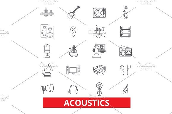 Acoustics Sound Music Guitar Electric Guitarist Wave Audio Speaker Line Icons Editable Strokes Flat Design Vector Illustration Symbol Concept Linear Signs Isolated On White Background