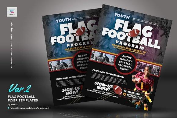 flag football flyer templates flyer templates creative market