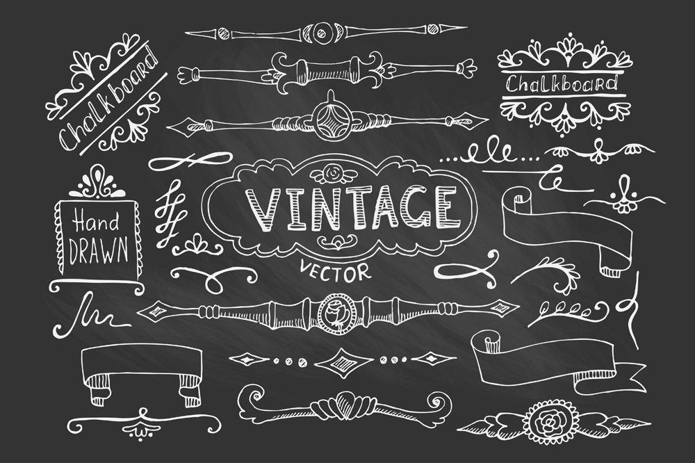 vintage chalkboard elements graphic objects creative market