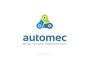 Automec Triangle Chain Logo Template