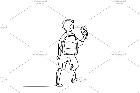 Boy With Ice-cream Going Back To School With Bag