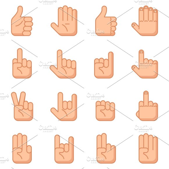 Hand Gestures Flat Signs