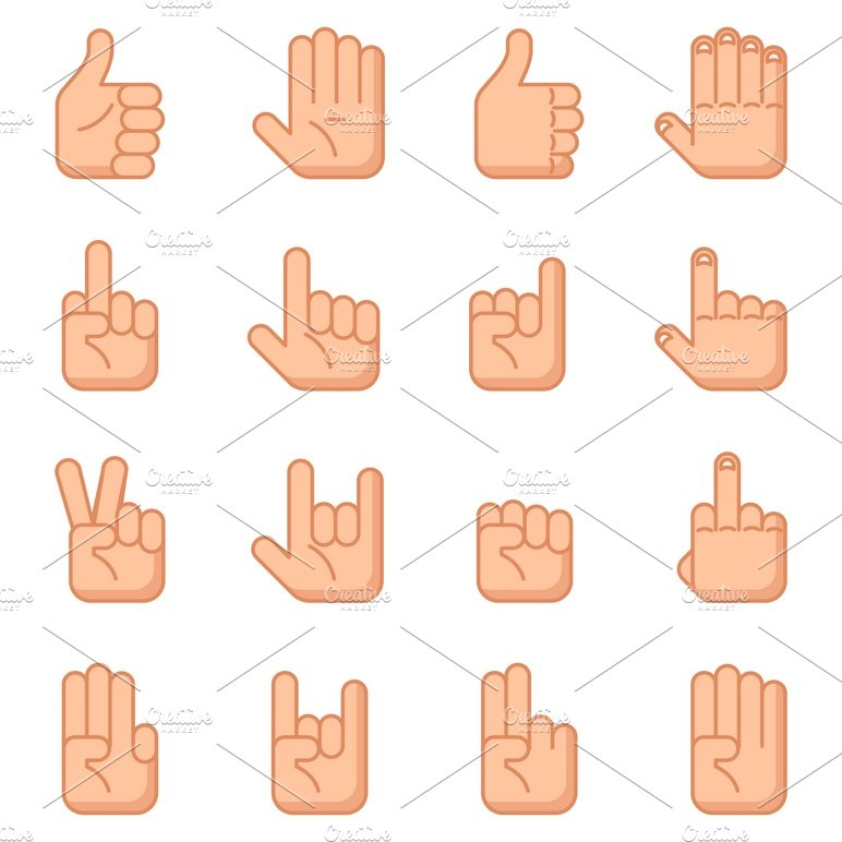 hand gestures flat signs icons creative market